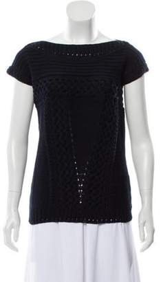 Oscar de la Renta Sleeveless Cable Knit Sweater w/ Tags Navy Sleeveless Cable Knit Sweater w/ Tags