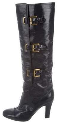 Stella McCartney Vegan Patent Leather Knee-High Boots Navy Vegan Patent Leather Knee-High Boots
