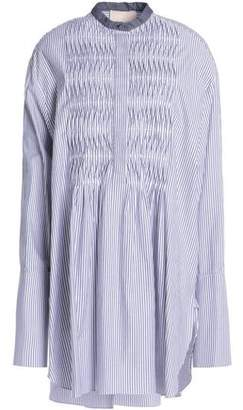 Roksanda Chambray-Trimmed Pintucked Striped Cotton-Poplin Mini Dress