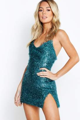 boohoo Petite Textured Split Dress