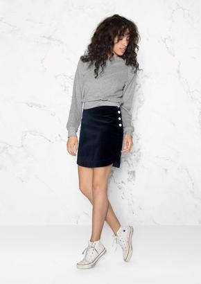Velvet Snap Button Skirt