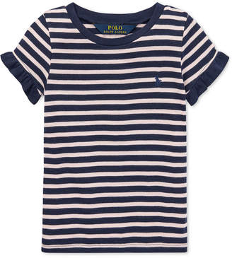 Polo Ralph Lauren Little Girls Striped Ruffled T-Shirt