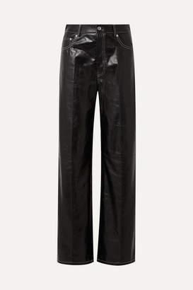 Helmut Lang Leather Wide-leg Pants - Black