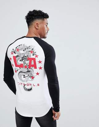 Dragon Optical ASOS DESIGN muscle longline long sleeve raglan with print and curve hem