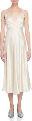 Liviana Conti Ivory Surplice Satin Slip Dress