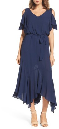 Women's Maggy London Cold Shoulder Midi Dress $138 thestylecure.com