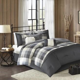 Home Essence Warren 7 Piece Herringbone Comforter Bedding Set with Bedskirt and Decorative Pillows