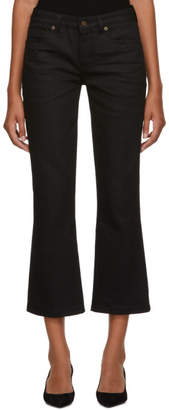 Saint Laurent Black Bootcut Cropped Jeans