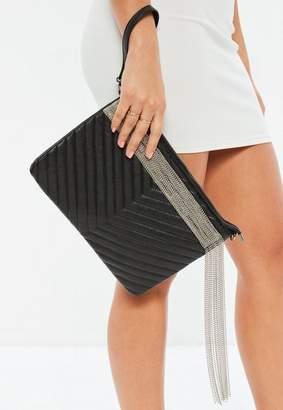 Missguided Black Faux Leather Quilted Chain Fringe Clutch Bag