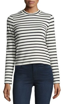 J Brand Harper Striped Long-Sleeve Crop Top, Black/Cream $148 thestylecure.com