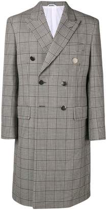 Calvin Klein check double-breasted coat