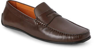 Donald J Pliner Brown Igor Perforated Penny Loafers