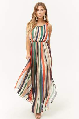 Forever 21 Pleated Striped Maxi Dress