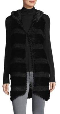 La Fiorentina Knitted Rabbit Fur Hooded Vest