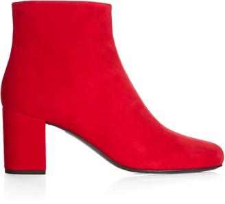SAINT LAURENT Babies block-heel suede ankle boots $845 thestylecure.com