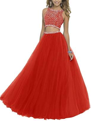 GRP Uryouthstyle Long Two Pieces Beaded Prom Gowns Bodice Evening Dress US