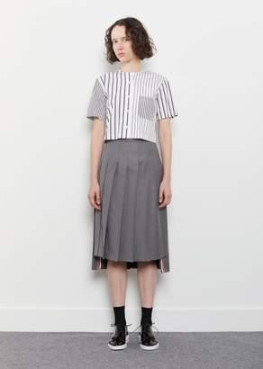 Thom Browne Wool Twill Pleated Skirt Medium Grey