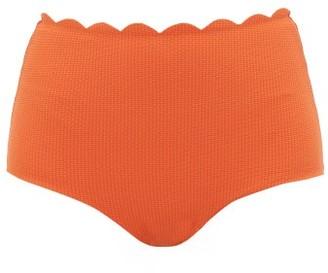 Marysia Swim Palm Springs Scallop Edge High Rise Bikini Briefs - Womens - Orange