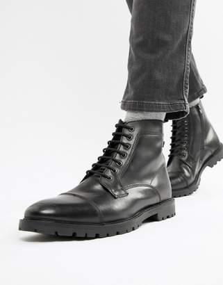 Base London Brigade toe cap boots in black