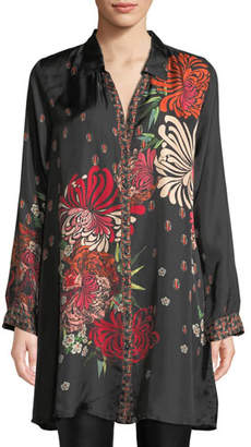 Johnny Was Plus Size Carro Button-Front Floral-Print Tunic
