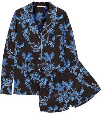 Poppy Snoozing Printed Stretch-silk Crepe De Chine Pajama Set - Midnight blue