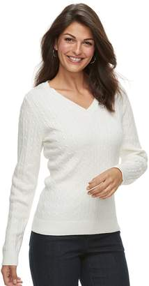 Croft & Barrow Women's Classic Cable Knit V-Neck Sweater