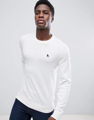 Abercrombie & Fitch Crew Neck Sweater Fine Gauge Icon Logo in Cream