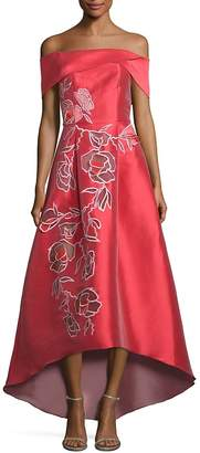 Sachin + Babi Women's Michelle Off-The-Shoulder Floral Applique Gown
