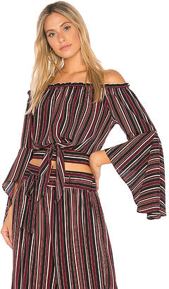 Band of Gypsies Pinstripe Tie Front Top