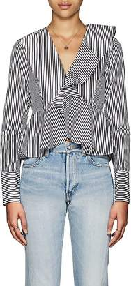 Robert Rodriguez Women's Ruffle Striped Cotton Crop Top