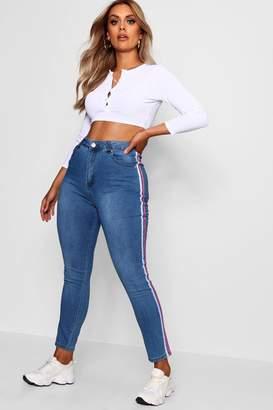 boohoo Plus Lois Stretch Skinny Stripe Jean