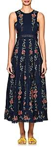 Zimmermann Women's Laelia Floral Cross-Stitched Linen-Cotton Dress - Navy
