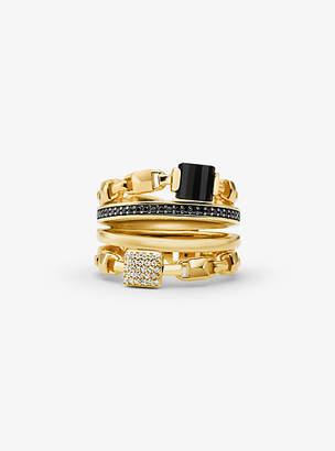 Michael Kors 14k Gold-Plated Sterling Silver Mercer Link Stacked Ring