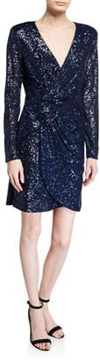 Parker Black Philippa Sequin V-Neck Long-Sleeve Mini Dress w/ Shoulder Pads