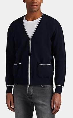 Fioroni Men's Tipped Cotton Zip-Front Cardigan - Navy