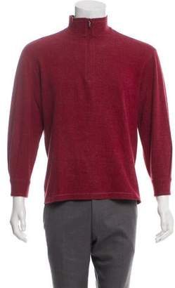 Canali Mock Neck Half-Zip Sweater