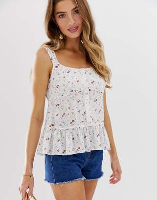 Asos Design DESIGN cami with peplum in floral print