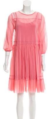 Fuzzi Ruffled Peasant Mesh Dress w/ Tags