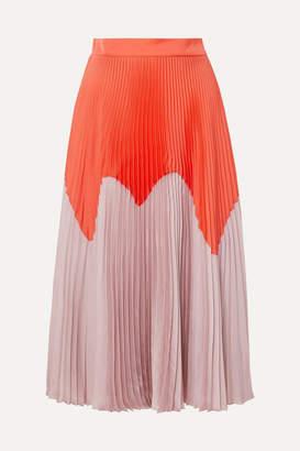 Roksanda Two-tone Pleated Satin Midi Skirt - Orange