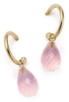 Bloomingdale's Rose Quartz Briolette Hoop Drop Earrings in 14K Yellow Gold - 100% Exclusive