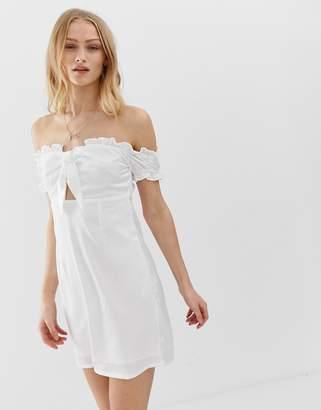 Glamorous bardot mini dress with tie front