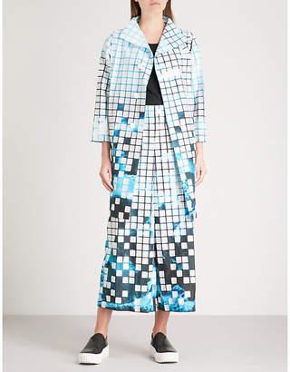 Issey Miyake Square-detail graphic-print woven coat