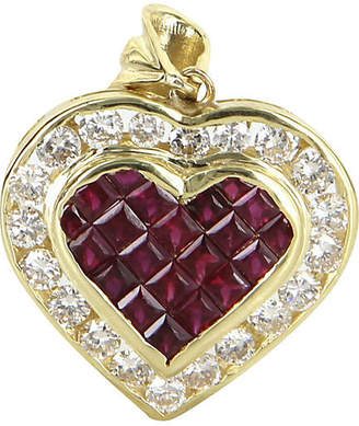 One Kings Lane Vintage 18k Gold Ruby & Diamond Heart Pendant - Precious & Rare Pieces
