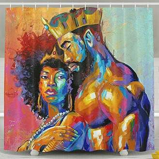 Mildew Resistant White Shower Curtains - African American Lovers Couple Painting Art Bath Curtain Liner - Waterproof Polyester Fabric Bathroom Decor Set With 12 Hooks - 72x72 Inch