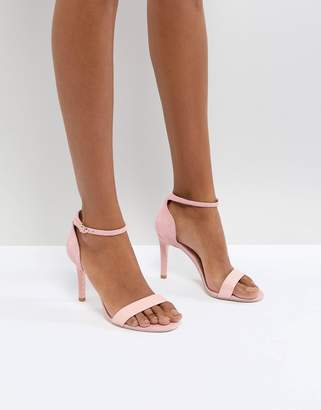 Dune London Barely There Heeled Sandals in Pink Leather