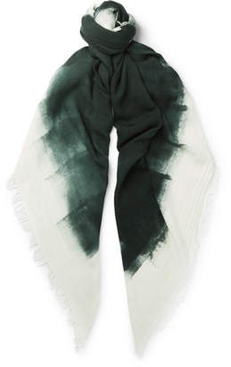Massimo Alba Fringed Watercolour-Dyed Wool and Silk-Blend Scarf