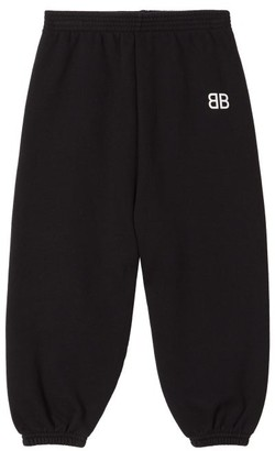 Balenciaga Kids - Bb Print Cotton Blend Track Pants - Black