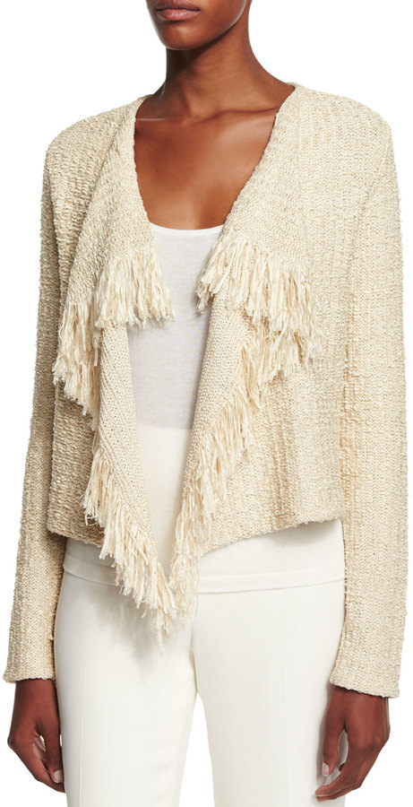 Ralph Lauren Collection Long-Sleeve Draped-Front Cardigan, Sand