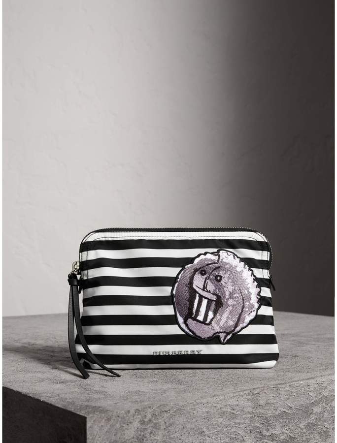 Burberry Large Striped Pouch with Pallas Heads Appliqué