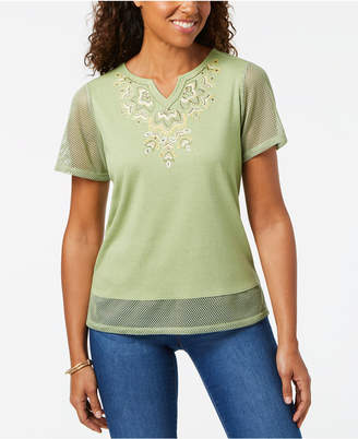 Alfred Dunner Parrot Cay Embellished-Neck Mesh-Sleeve Top